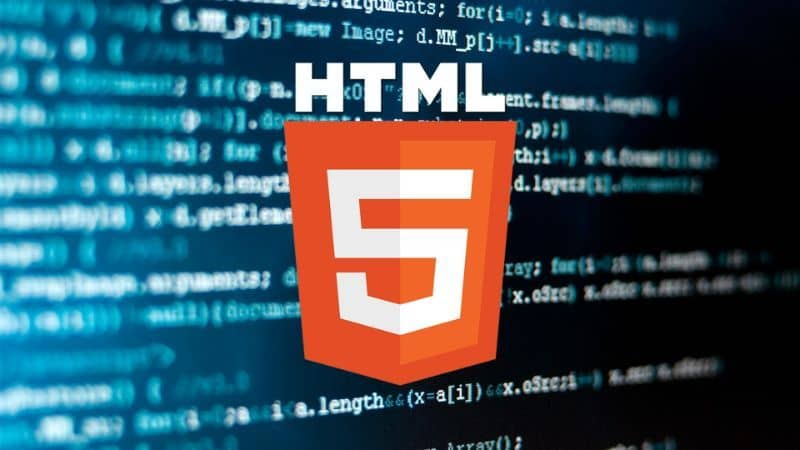 html5 logo with codes in the background