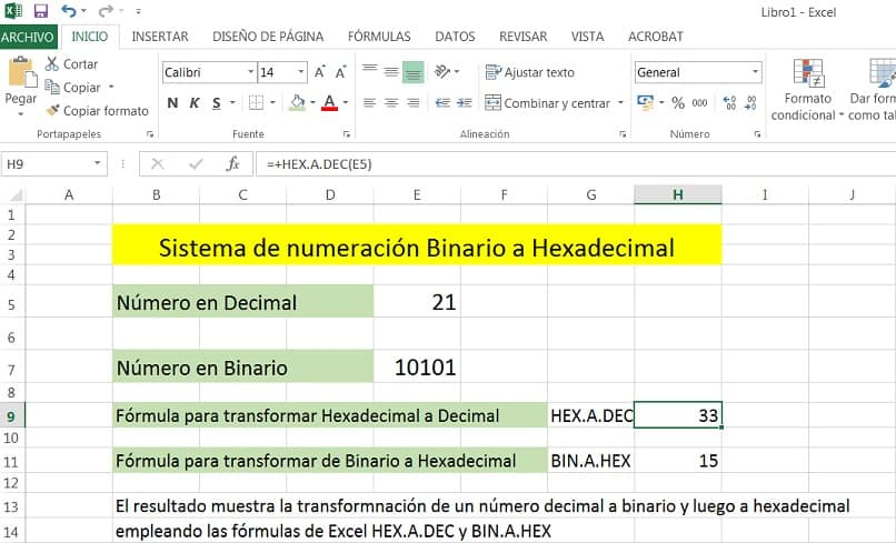 spreadsheet view with sample conversion numbers