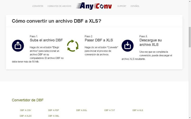 convert a dbf xls file with any conv