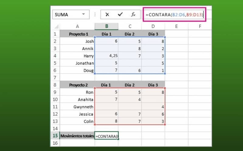 Perform sums in Excel