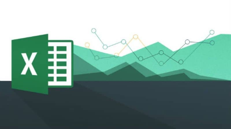 excel logo with figures in the shape of peaks