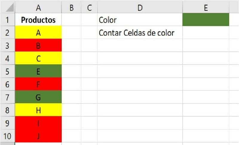 excel and cells of different colors