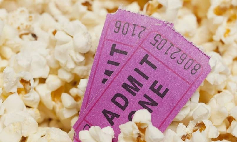 movie tickets dipped in popcorn
