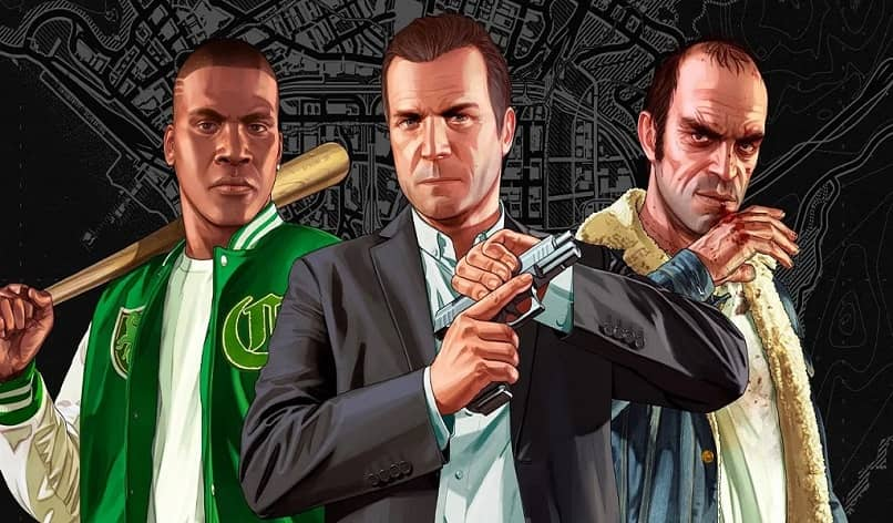 main characters of gta 5 with weapons