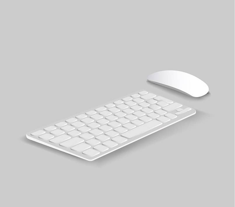 white and gray keyboard mouse