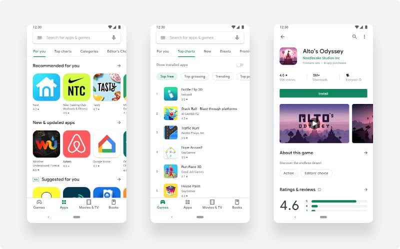 Screenshots on mobiles from Google Play Store