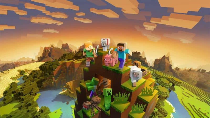 minecraft animal characters and monsters in mountain