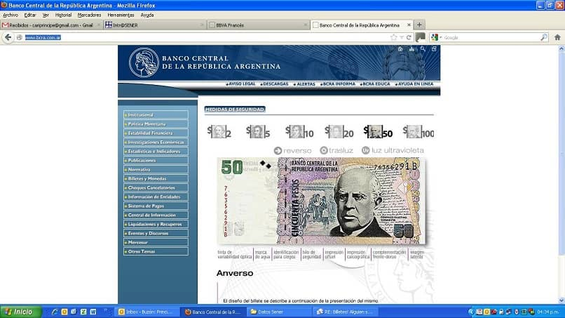 The website of the Central Bank of the Argentine Republic
