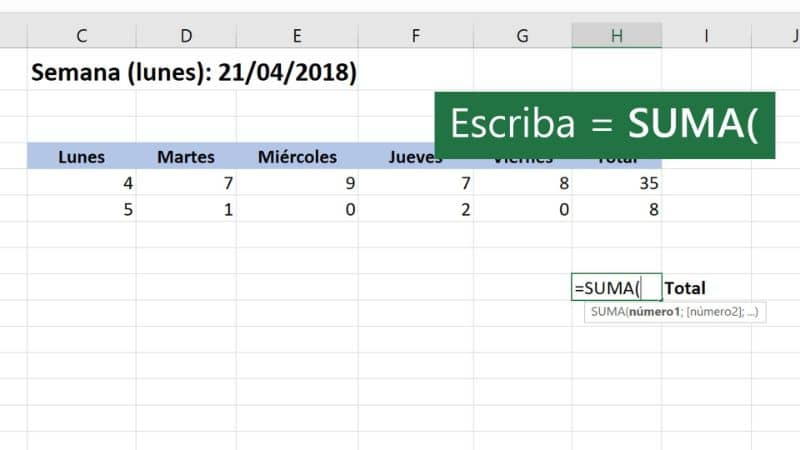 spreadsheet in excel with formula for sum