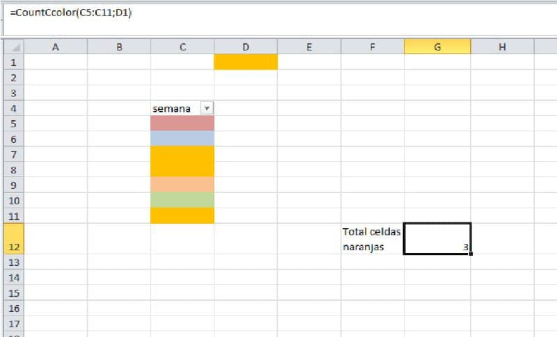 excel table and color cell count