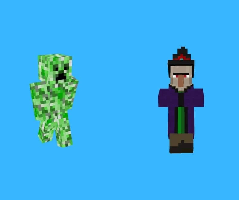 Minecraft Character Witch and Creepers