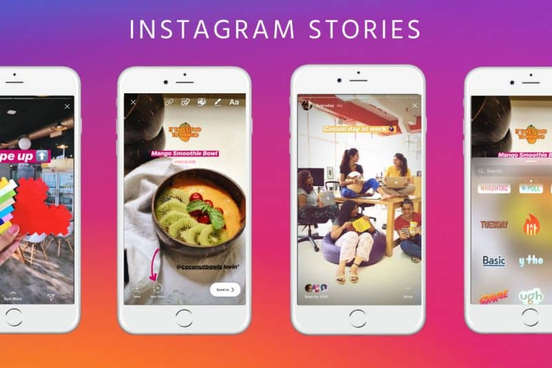 Different phones with Instagram Stories colorful background