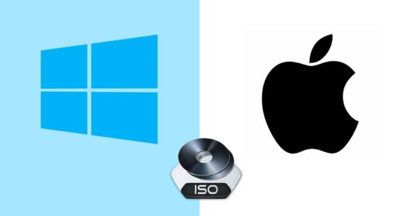 ISO icon and windows and apple logo on the sides