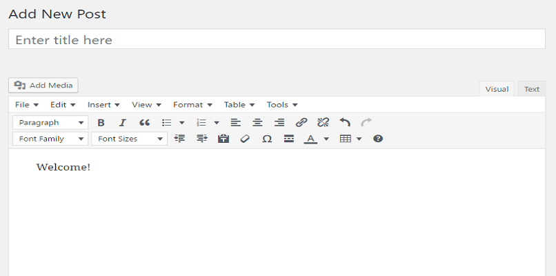 showing tinymce menu with its options
